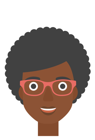 An african-american smiling happy woman vector flat design illustration isolated on white background. Vertical layout.