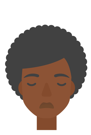 grieving: An african-american grieving woman with eyes closed vector flat design illustration isolated on white background. Vertical layout.