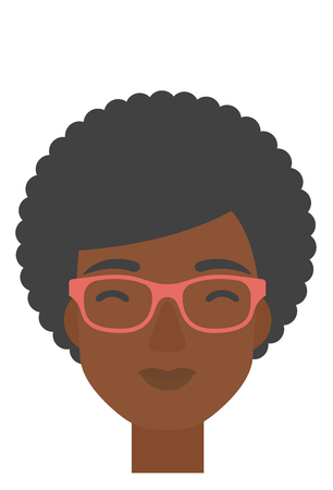 pleased: An african-american pleased woman with her eyes closed vector flat design illustration isolated on white background. Vertical layout.