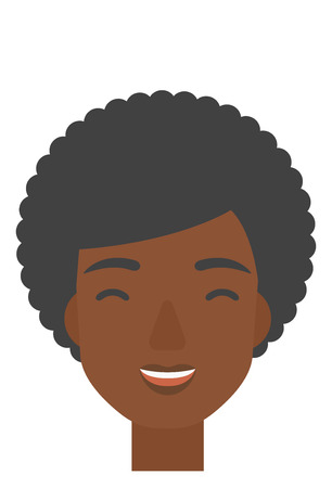 closed mouth: An african-american cheerful woman experiencing euphoria vector flat design illustration isolated on white background. Vertical layout. Illustration