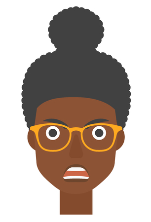 An african-american screaming aggressive woman vector flat design illustration isolated on white background. Vertical layout.