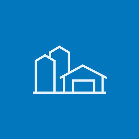 granary: Farm buildings thick line icon with pointed corners and edges for web, mobile and infographics. Vector isolated icon.