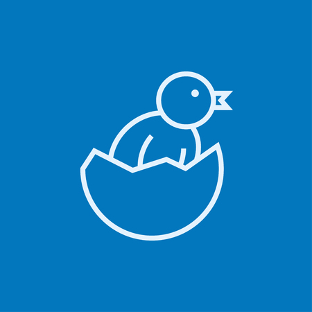 Chick peeking out of an egg shell thick line icon with pointed corners and edges for web, mobile and infographics. Vector isolated icon.