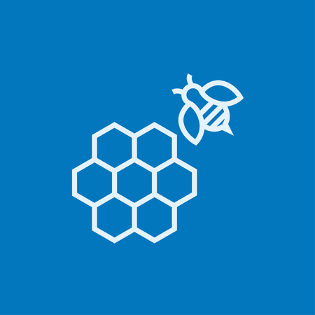 Honeycomb and a bee thick line icon with pointed corners and edges for web, mobile and infographics. Vector isolated icon.