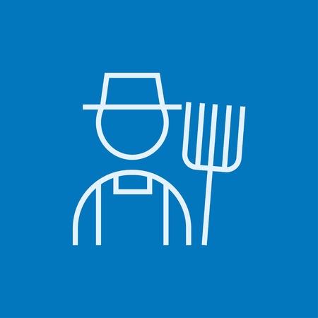 rancher: Farmer with pitchfork thick line icon with pointed corners and edges for web, mobile and infographics. Vector isolated icon. Illustration
