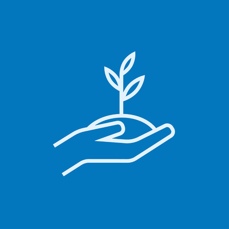 seedling: Hands holding seedling in soil thick line icon with pointed corners and edges for web, mobile and infographics. Vector isolated icon.