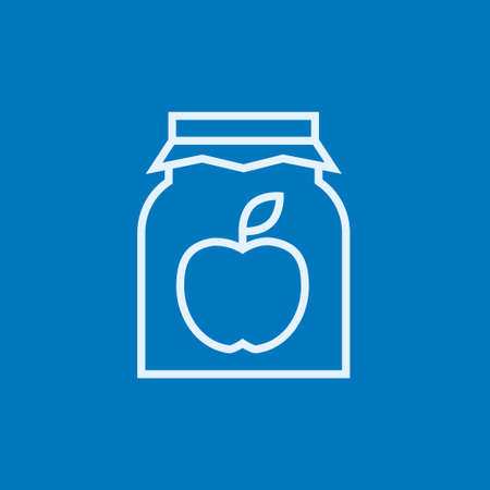 jam jar: Apple jam jar thick line icon with pointed corners and edges for web, mobile and infographics. Vector isolated icon. Illustration