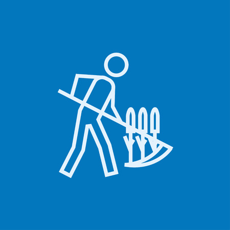 mowing grass: Man mowing grass with a scythe thick line icon with pointed corners and edges for web, mobile and infographics. Vector isolated icon. Illustration
