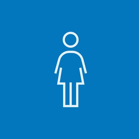 full length woman: Business woman thick line icon with pointed corners and edges for web, mobile and infographics. Vector isolated icon.