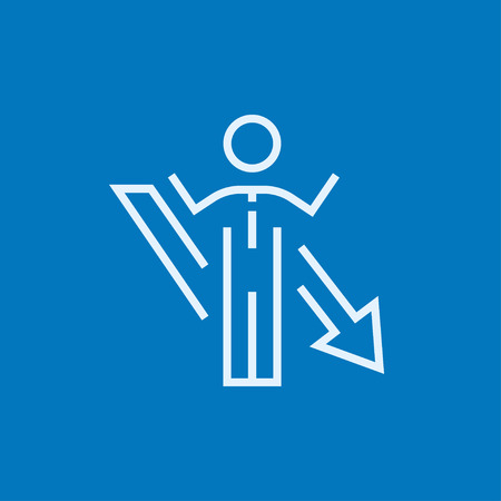 going down: Businessman with raised hands and arrow going down thick line icon with pointed corners and edges for web, mobile and infographics. Vector isolated icon.