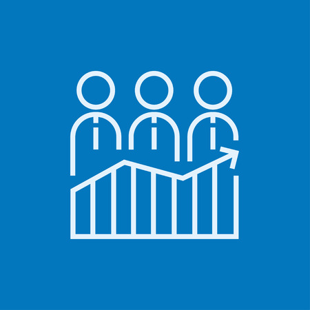 profit graph: Businessmen standing on profit graph thick line icon with pointed corners and edges for web, mobile and infographics. Vector isolated icon. Illustration