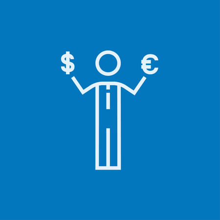 Businessman holding Euro and US dollar symbol thick line icon with pointed corners and edges for web, mobile and infographics. Vector isolated icon. Stock Illustratie