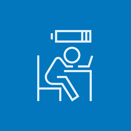 power failure: Tired employee sleeping on workplace on laptop keyboard with low power battery sign over his head thick line icon with pointed corners and edges for web, mobile and infographics. Vector isolated icon.