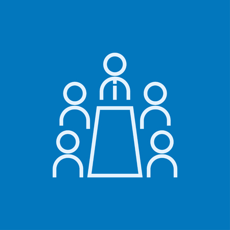 Business meeting in the office thick line icon with pointed corners and edges for web, mobile and infographics. Vector isolated icon. Ilustrace