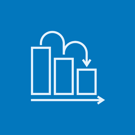 going down: Bar chart going down thick line icon with pointed corners and edges for web, mobile and infographics. Vector isolated icon.