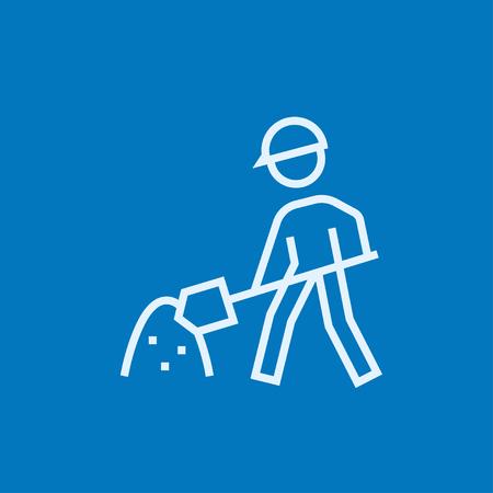 Homme avec pelle et colline de sable épaisse icône de la ligne avec des coins pointus et les bords pour le web, le mobile et infographies. Vector icône isolé.