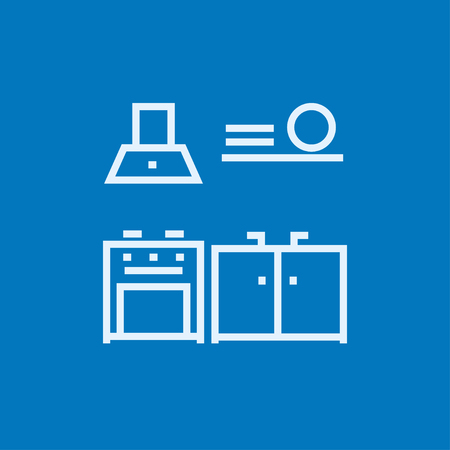 Kitchen interior thick line icon with pointed corners and edges for web, mobile and infographics. Vector isolated icon.