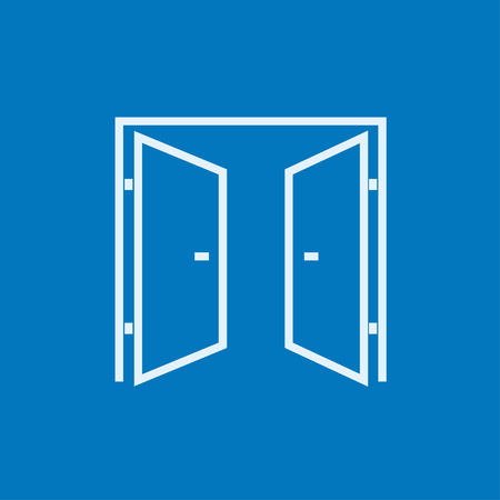 Open doors thick line icon with pointed corners and edges for web, mobile and infographics. Vector isolated icon. Çizim