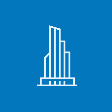 high rise buildings: Skyscraper office building thick line icon with pointed corners and edges for web, mobile and infographics. Vector isolated icon. Illustration