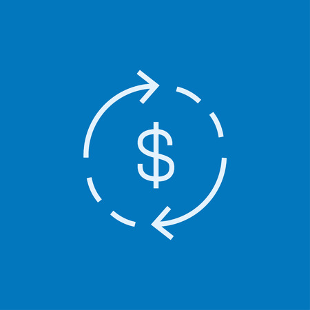 Dollar symbol with arrows around thick line icon with pointed corners and edges for web, mobile and infographics. Vector isolated icon.