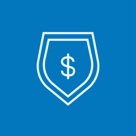 Shield with dollar symbol thick line icon with pointed corners and edges for web, mobile and infographics. Vector isolated icon. 向量圖像