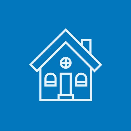 detached: Detached house thick line icon with pointed corners and edges for web, mobile and infographics. Vector isolated icon.