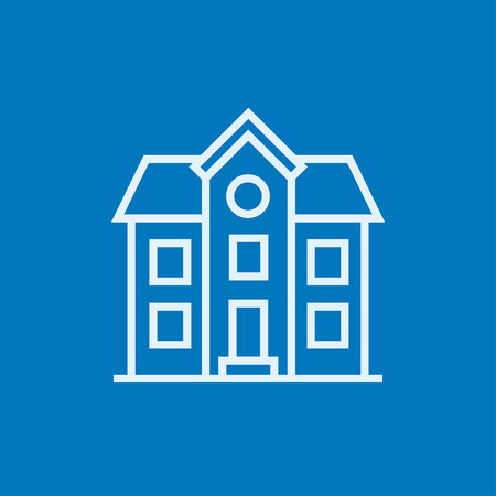 detached house: Two storey detached house thick line icon with pointed corners and edges for web, mobile and infographics. Vector isolated icon.