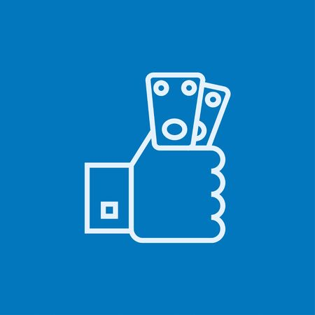 Hand holding money thick line icon with pointed corners and edges for web, mobile and infographics. Vector isolated icon.
