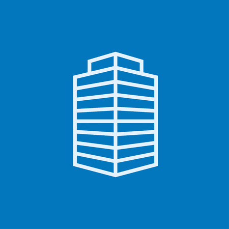 sky scraper: Office building thick line icon with pointed corners and edges for web, mobile and infographics. Vector isolated icon.