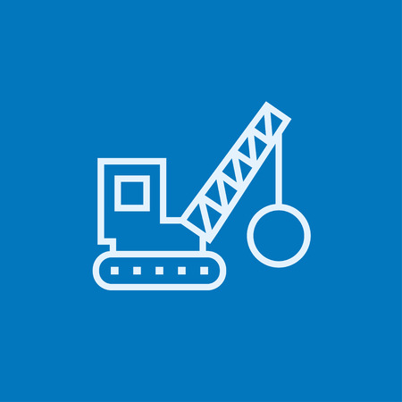 raze: Demolition trailer thick line icon with pointed corners and edges for web, mobile and infographics. Vector isolated icon.