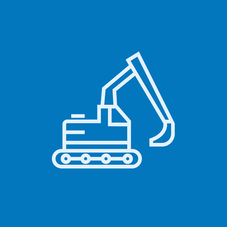 Excavator thick line icon with pointed corners and edges for web, mobile and infographics. Vector isolated icon.