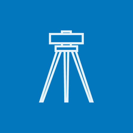levelling: Theodolite on tripod thick line icon with pointed corners and edges for web, mobile and infographics. Vector isolated icon. Illustration