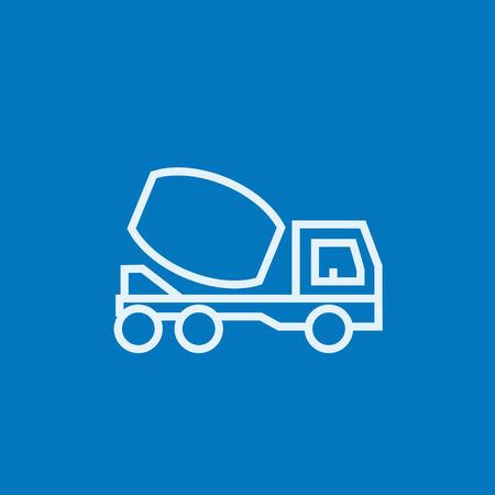 business graphics: Concrete mixer truck thick line icon with pointed corners and edges for web, mobile and infographics. Vector isolated icon. Illustration