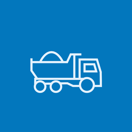 hauler: Dump truck thick line icon with pointed corners and edges for web, mobile and infographics. Vector isolated icon. Illustration