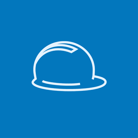 hard: Hard hat thick line icon with pointed corners and edges for web, mobile and infographics. Vector isolated icon.