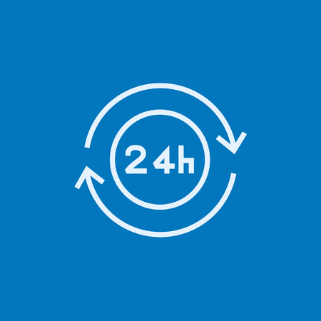 hrs: Service 24 hrs thick line icon with pointed corners and edges for web, mobile and infographics. Vector isolated icon.