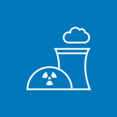 Nuclear power plant thick line icon with pointed corners and edges for web, mobile and infographics. Vector isolated icon.