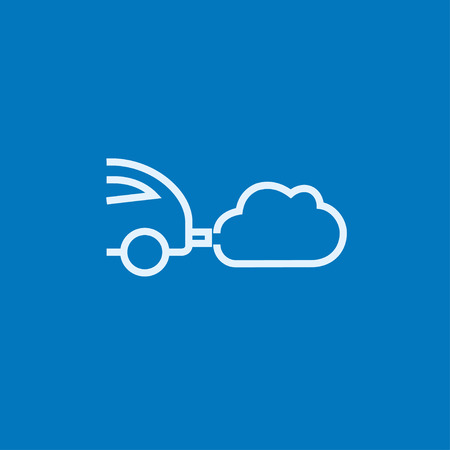 fume: Car spewing polluting exhaust thick line icon with pointed corners and edges for web, mobile and infographics. Vector isolated icon.