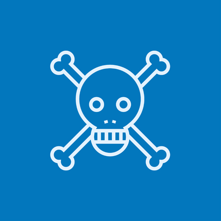 cross bones: Skull and cross bones thick line icon with pointed corners and edges for web, mobile and infographics. Vector isolated icon. Illustration