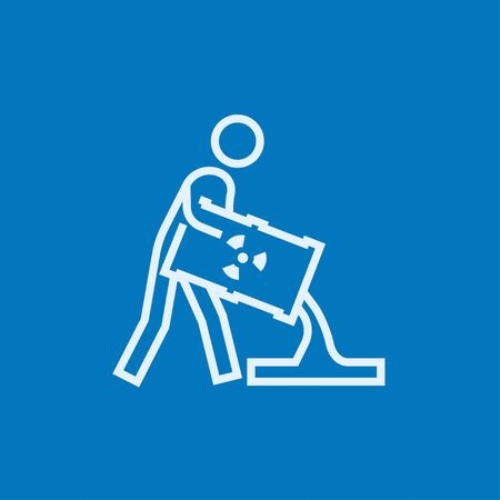 ionizing: A man pouring the liquid from the barrel with ionizing radiation sign thick line icon with pointed corners and edges for web, mobile and infographics. Vector isolated icon. Illustration