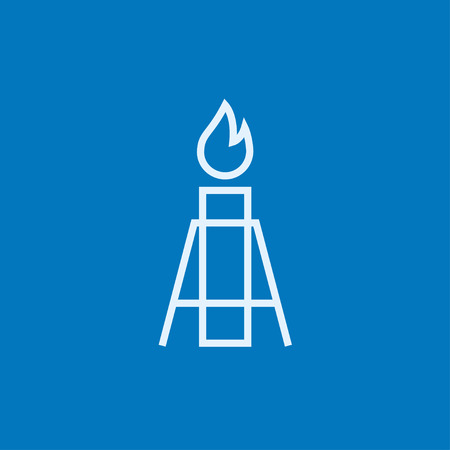 flue: Gas flare thick line icon with pointed corners and edges for web, mobile and infographics. Vector isolated icon.