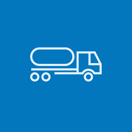 trucker: Fuel truck thick line icon with pointed corners and edges for web, mobile and infographics. Vector isolated icon.