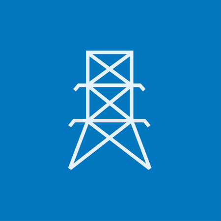 powerlines: Electric tower thick line icon with pointed corners and edges for web, mobile and infographics. Vector isolated icon.