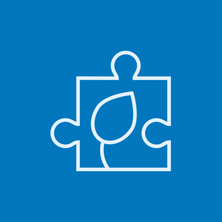 puzzle corners: Puzzle with leaf thick line icon with pointed corners and edges for web, mobile and infographics. Vector isolated icon. Illustration