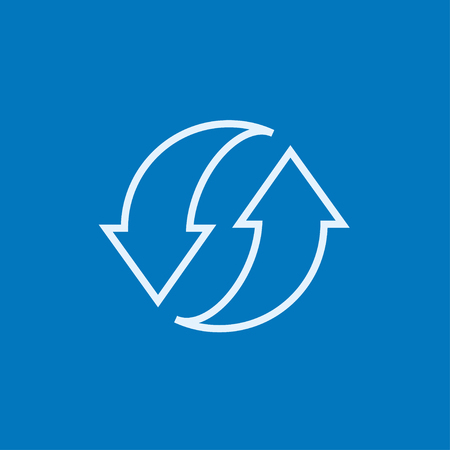 pointed arrows: Two circular arrows thick line icon with pointed corners and edges for web, mobile and infographics. Vector isolated icon.