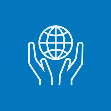 hands holding globe: Two hands holding globe thick line icon with pointed corners and edges for web, mobile and infographics. Vector isolated icon. Illustration