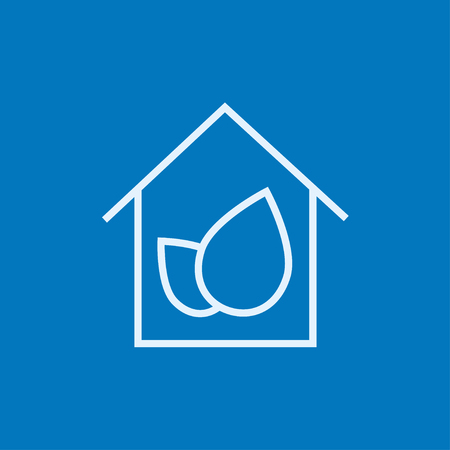 ecofriendly: Eco-friendly house thick line icon with pointed corners and edges for web, mobile and infographics. Vector isolated icon.