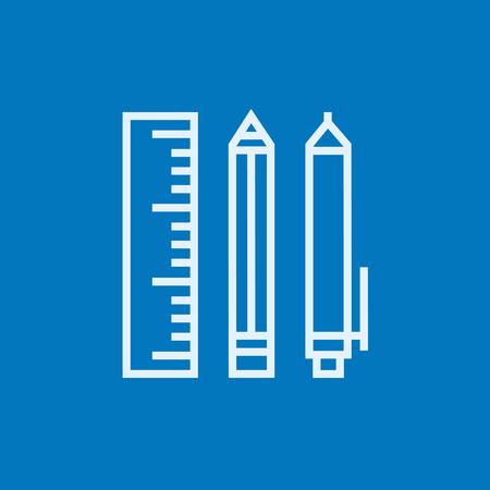 ball pens stationery: útiles escolares icono de línea gruesa con esquinas puntiagudas y bordes para web, móvil y la infografía. aislado vector icono.
