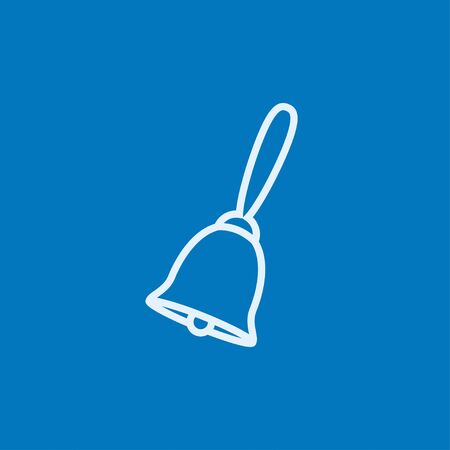 handbell: School bell thick line icon with pointed corners and edges for web, mobile and infographics. Vector isolated icon. Illustration