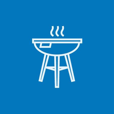 barbecue stove: Kettle barbecue grill thick line icon with pointed corners and edges for web, mobile and infographics. Vector isolated icon.
